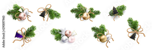 Obraz Christmas decoration. Xmas Bouquets and wreaths - fototapety do salonu