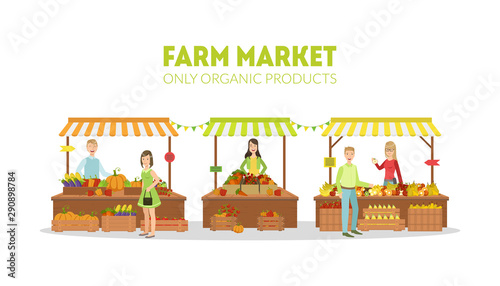 Farm Market, Farmers Selling Fresh Natural Organic Products on Stalls with Awnin Canvas