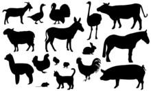 Nutztiere Bauernhof Silhouetten