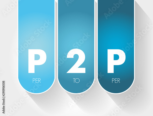 P2P - Per to Per acronym, technology concept background Canvas Print