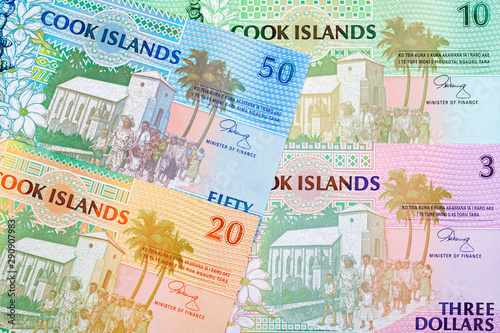 Obraz na plátně  Money from Cook Islands, a business background with dollars
