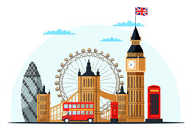 London Cityscape Flat Vector C...