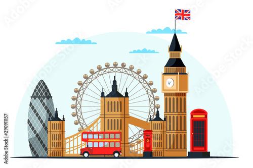 Fotomural London cityscape flat vector color illustration