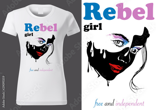 Obraz na plátně Women White T-shirt Design with Abstract Face Drawing and Text REBEL GIRL - Blac