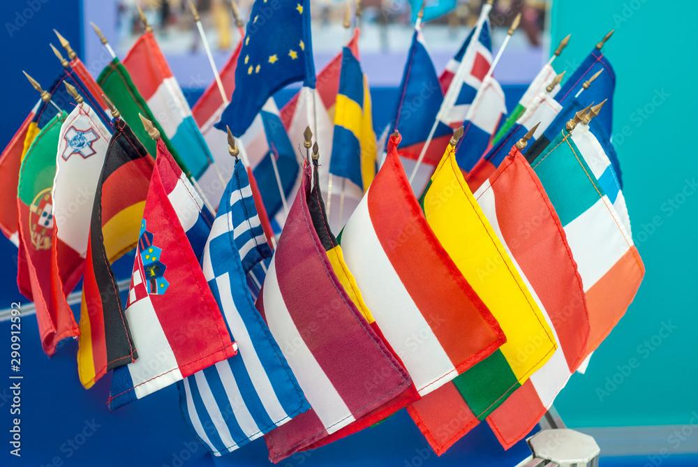 Fototapeta Small flags of the member states of the European Union