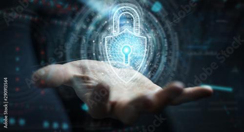 Businessman using digital padlock security interface to protect datas 3D renderi Poster Mural XXL