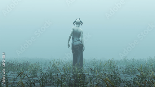 Foto auf AluDibond Pool Horned Demon Walking Away in a Black Pant Suit Futuristic Haute Couture Abstract Demon Foggy Watery Void with Reeds and Grass background Front View 3d Illustration 3d render