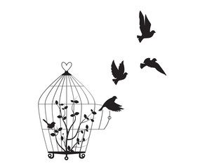 Naklejka Do salonu Birds Flying from the cage, flying birds silhouettes, cage illustration, freedom symbol, wall decals, wall artwork, poster design isolated on white background. Wall Art decoration