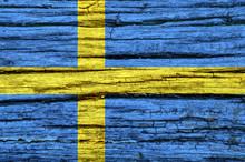 Sweden Flag On An Old Decrepit...