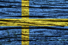Sweden Flag On An Old Wooden S...