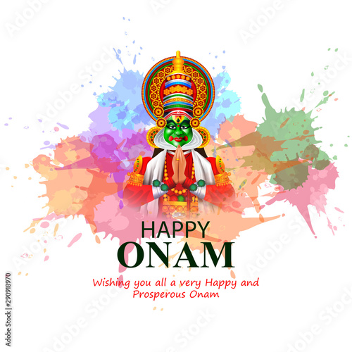 Foto easy to edit vector illustration of Happy Onam holiday for South India festival