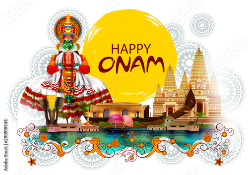 easy to edit vector illustration of Happy Onam holiday for South India festival Canvas