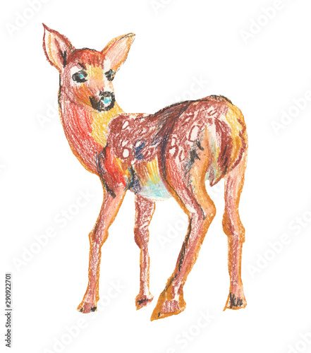 Foto-Schmutzfangmatte - Deer drawn with wax crayons. Textural illustration. (von Мария Минина)