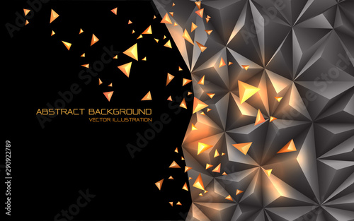 Fototapeta  Abstract grey gold triangle 3D with black blank space design modern futuristic technology background vector illustration