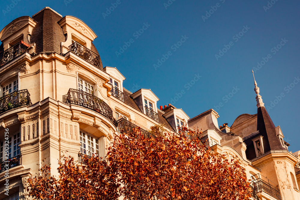 Fototapeta View through orange foliage on a house in Paris, France. The concept of Autumn time and October.