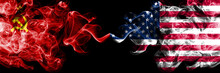 Communist Vs United States Of America, American Abstract Smoky Mystic Flags Placed Side By Side. Thick Colored Silky Smoke Flags Of Communism And United States Of America, American
