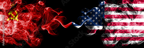 Communist vs United States of America, American abstract smoky mystic flags placed side by side Fototapeta
