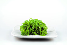 Hiyashi Wakame Chuka Or Seaweed Salad In White Bowl  On White Background, Japanese Food