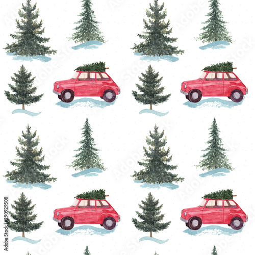 Cartoon voitures Christmas seamless pattern. Watercolor hand painted red car with Christmas tree in winter forest isolated on white background.