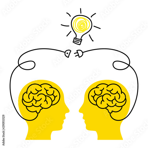 Obraz Brainstorm. Creative collective thinking. Idea Man. Concept of teamwork and creativity. - fototapety do salonu