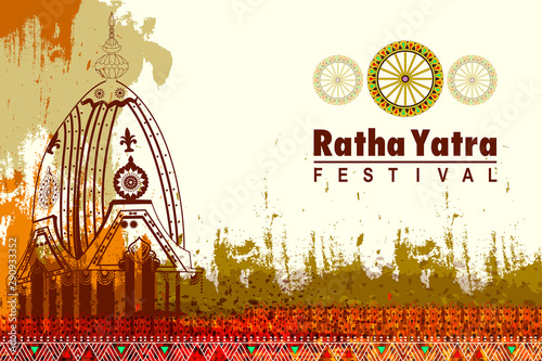 Obraz na plátně easy to edit vector illustration of Rath Yatra Lord Jagannath festival Holiday b