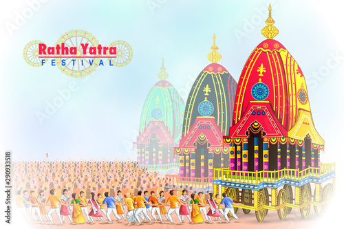 Fényképezés easy to edit vector illustration of Rath Yatra Lord Jagannath festival Holiday b
