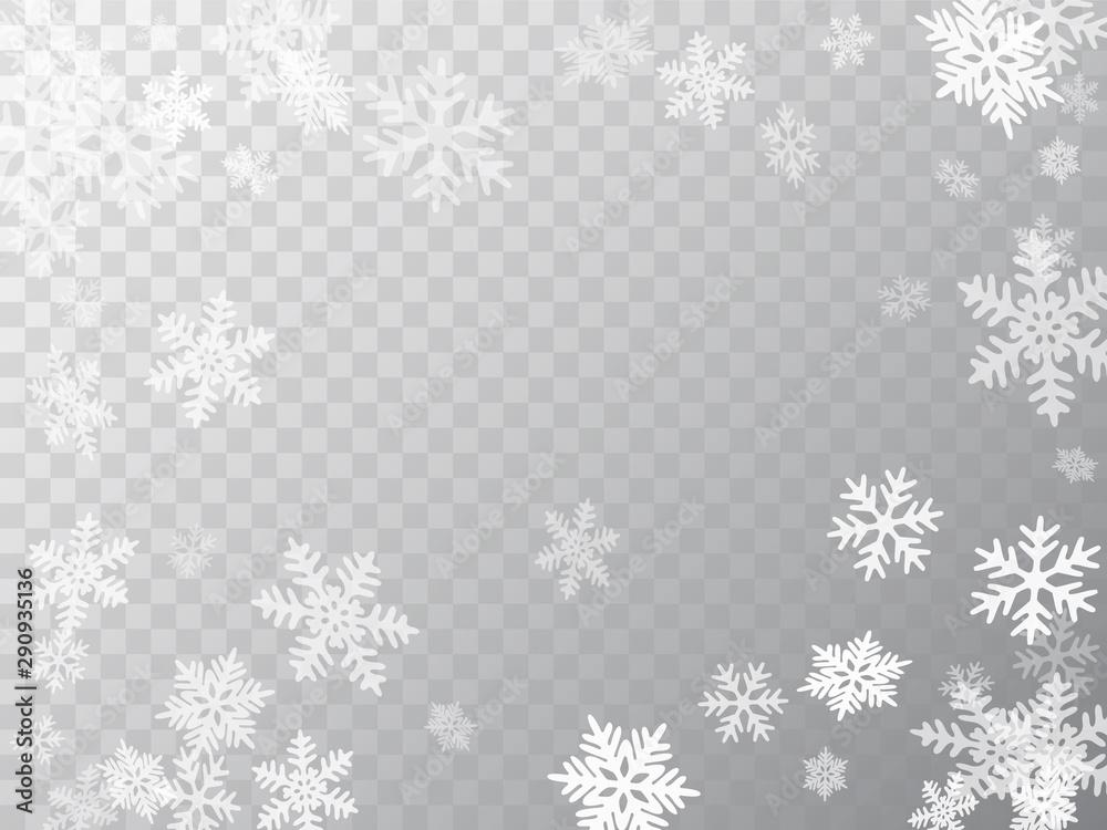 Fototapeta Winter snowflakes border simple vector background.