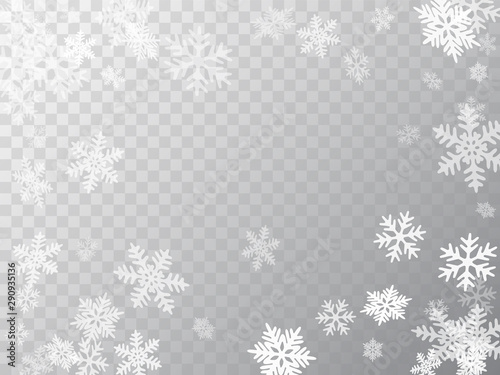 Winter snowflakes border simple vector background.