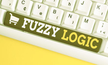 Word Writing Text Fuzzy Logic. Business Photo Showcasing Checks For Extent Of Dirt And Grease Amount Of Soap And Water White Pc Keyboard With Empty Note Paper Above White Background Key Copy Space