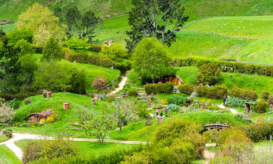 MATAMATA, NEW ZEALAND - OCTOBER 10, 2018: Landscape of the Hobbiton Movie Set.