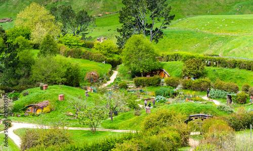 Photo  MATAMATA, NEW ZEALAND - OCTOBER 10, 2018: Landscape of the Hobbiton Movie Set