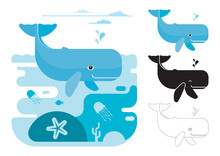 Whale Icons. Flat Vector Illustration Of Cachalot. Decorative Cute Illustration For Children. Graphic Design Elements For Print And Web.