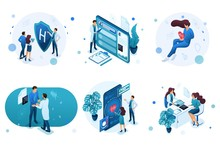 Set Of Isometric Concepts For Advertising And Creating Landing Pages On The Theme Of Medicine. Doctor Advises The Patient, Medical Worker During The Work
