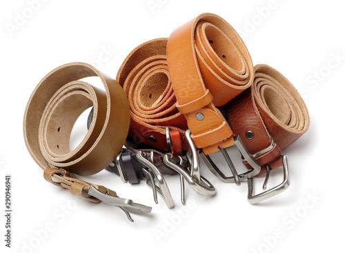 Valokuva Leather Belt on a white background. Opening, fastener.