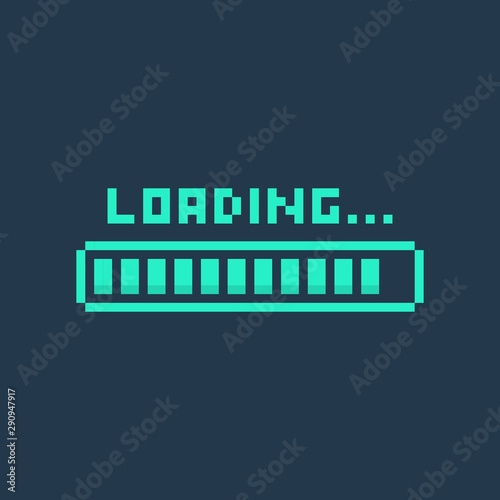 Pixel art 8-bit cyber futuristic loading bar - isolated vector illustration Canvas-taulu