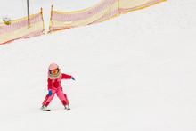 Skiing, Little Skier In Ski Sc...