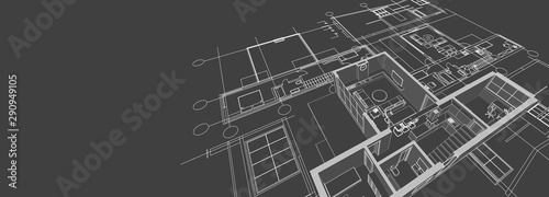 Obraz na plátně  house architectural project sketch 3d illustration