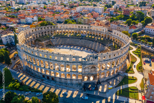 Wall Murals Old building Aerial view of Pula amphitheater, Pula, Croatia