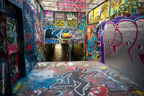 Cool urban graffiti on all parts of underpass Canvas Print