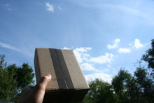 A Courier Package That Has Just Arrived At The Addressee As A Gift Held In Hand Against The Sky