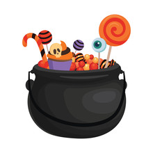 A Halloween Bucket With Bat Wings Filled With Sweets. Cartoon Illustration Of A Basket For Halloween. Vector Drawing For Children.