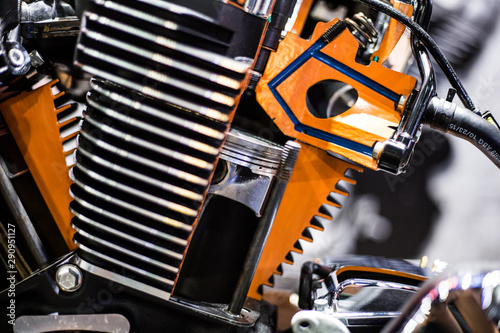 Türaufkleber Fahrrad 2 piston motorcycle classic engine