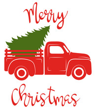 Red Pickup With Christmas Tree. Traditional American Track. Vector Illustration For Christmas Holidays.