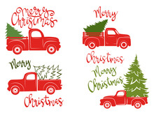 Set Of Red Pickups With Christmas Tree. Traditional American Trailer. Vector Illustration For Christmas Holidays.