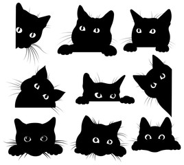 FototapetaSet of black cats looking out of the corner. Collection of cat faces that spy on you. Playing pets. Tattoo.