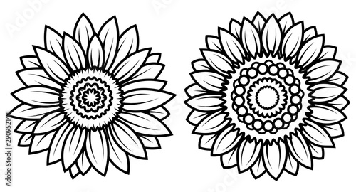 Foto auf Leinwand Boho-Stil Set of stylized sunflowers. Collection of flowers in the form of a mandala. Black and white illusion. Tattoo.