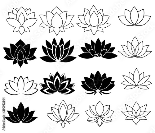 Set of stylized lotuses Poster Mural XXL