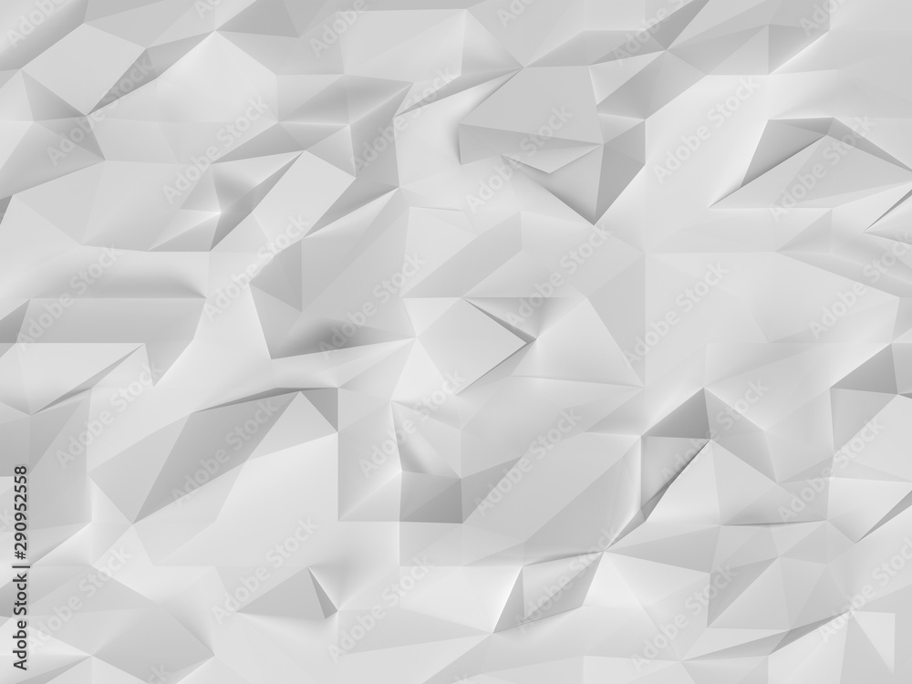 3d grey white background texture simulating a rectangular sheet of crumpled white paper. Geometric 3d illustration backdrop or substrate for graphic design