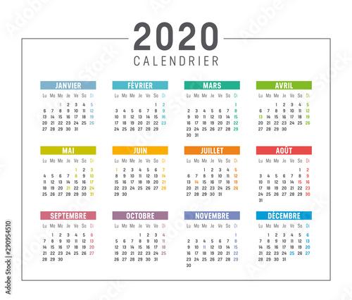 Calendrier Agenda 2020.Fototapeta Calendrier Agenda 2020