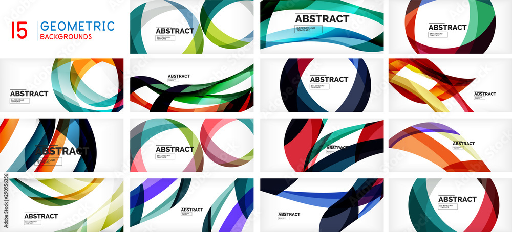 Fototapeta Set of geometric waves, circles and stripes on white background. Abstract design pattern, creative motion poster for technology or business theme.